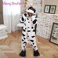 Mengshufen Onesie Pajamas Unicorn Women Cow Sleepwear Set Animal Nightgown Winter Cartoon Flannel Man Pyjamas Warm