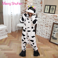 Mengshufen Onesie Pajamas Unicorn Women Cow Sleepwear Set Animal Nightgown Winter Cartoon Flannel Man Pyjamas Warm 1227