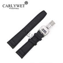 CARLYWET 20 21 22mm Black Nylon Fabric Leather Band Wrist Watch Strap Belt 316L Stainless Steel Buckle Deployment Clasp For IWC все цены