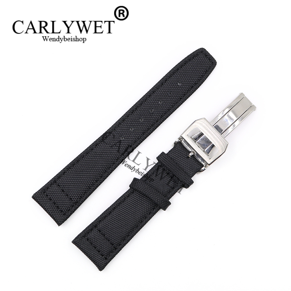 CARLYWET 20 21 22mm Black Nylon Fabric Leather Band Wrist Watch Strap Belt With 316L Stainless Steel Buckle Deployment Clasp nylon watch band 22mm for jacques lemans stainless steel pin clasp strap wrist loop belt bracelet black brown grey red purple
