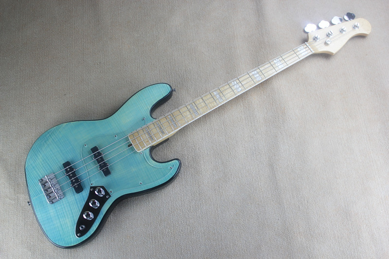 Accept Custom Any Wood Any Style Electr Electric Guitar Bass Guitarra 4 String PlexiPicea TP Basswood DIY Blue Circle free shipping high quality white mustang electric guitar guitarra all color accept