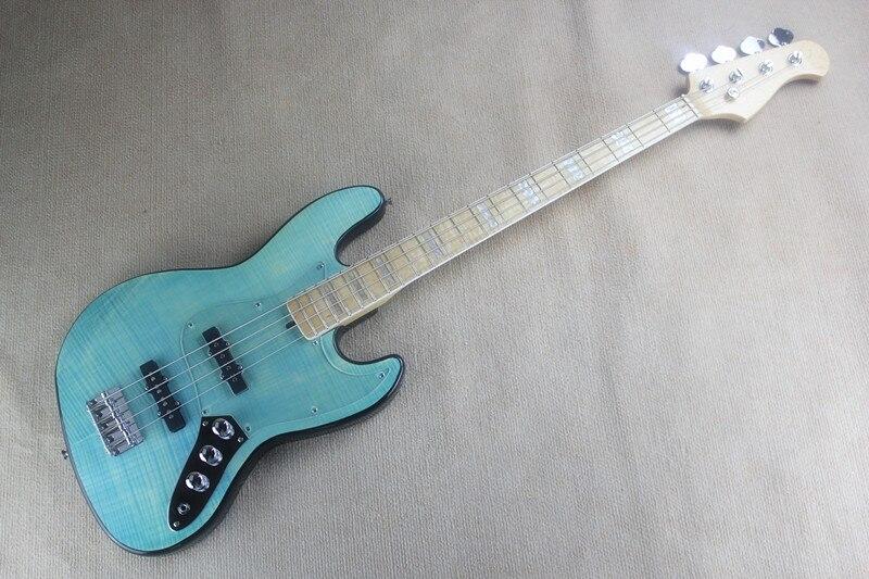 Acceptez la coutume n'importe quel bois n'importe quel Style guitare électrique Electr basse Guitarra 4 cordes PlexiPicea TP Basswood bricolage cercle bleu