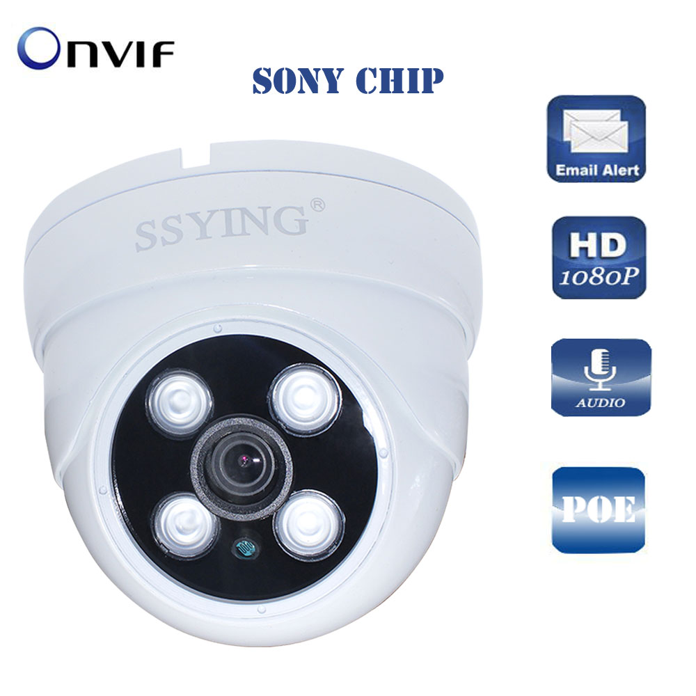 HD 1080P POE Dome Camera Weatherproof IP Security camera Vandalproof Motion Alerts Support Onvif P2P Night Vision Surveillance hd sony exmor imx122 cmos 2 0mp ip camera 1080p color image night vision support onvif p2p motion detect indoor dome ip camera