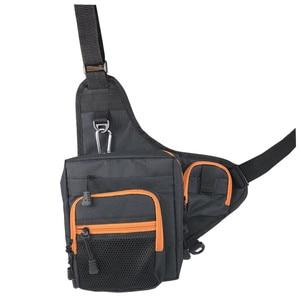 Image 1 - Fishing Sling Pack Shoulder Sling Fish Bag Canvas Waterproof Lure Tackle Bag Waist Pack Multi Purpose Bag for Fishing
