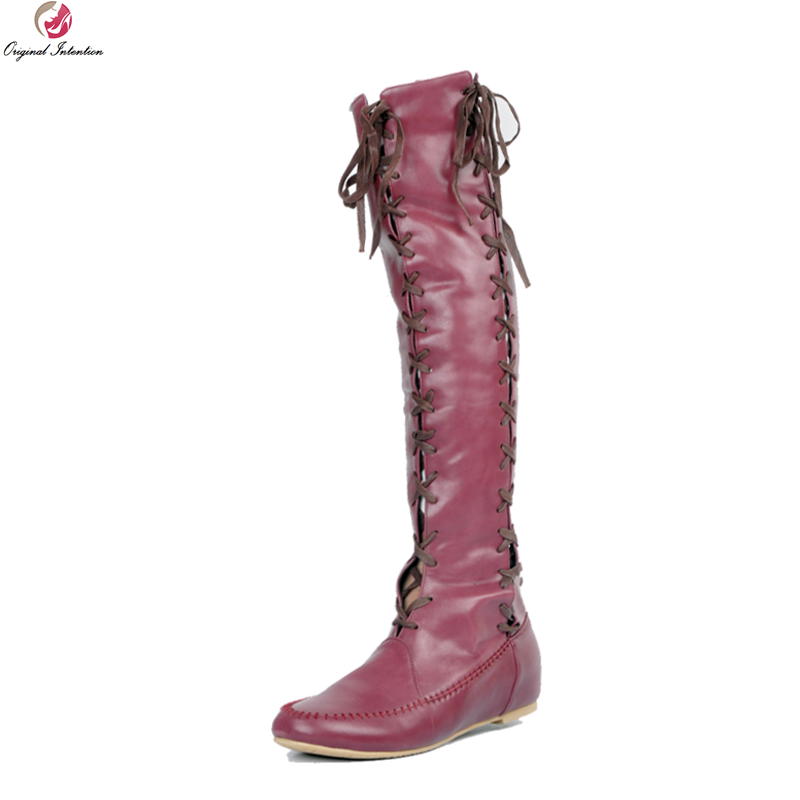 Здесь можно купить  Original Intention Stylish Women Knee High Boots Fashion Round Toe Wedges Boots Wine Red Yellow Shoes Woman Plus US Size 4-15  Обувь