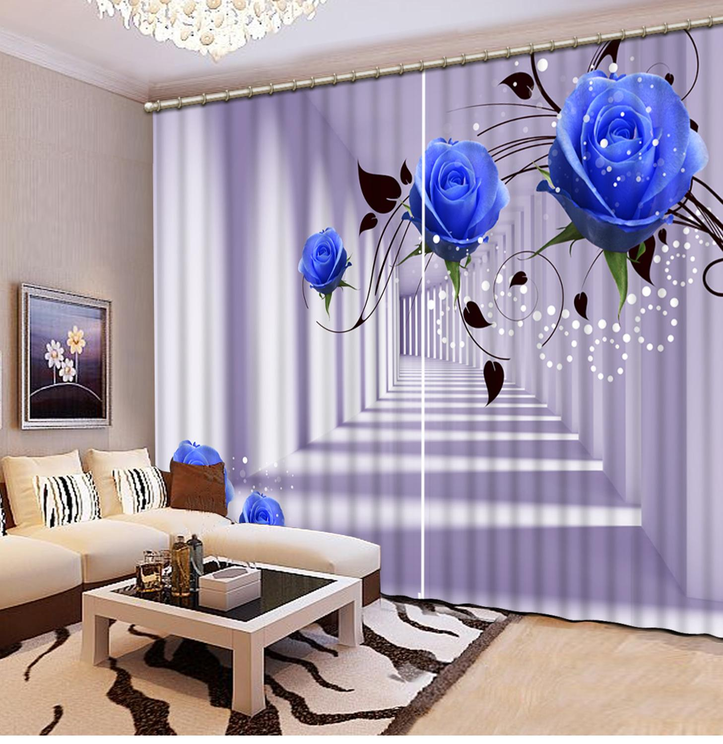 ustomized size Luxury Blackout 3D Window Curtains For Living Room blue rose curtains Decoration curtainsustomized size Luxury Blackout 3D Window Curtains For Living Room blue rose curtains Decoration curtains