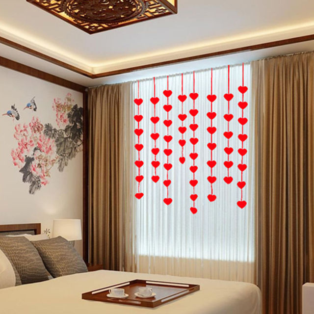 1 Set 3m Love Heart Non-woven Bridal Chamber Wedding Decor Door Curtain DIY & 1 Set 3m Love Heart Non woven Bridal Chamber Wedding Decor Door ...