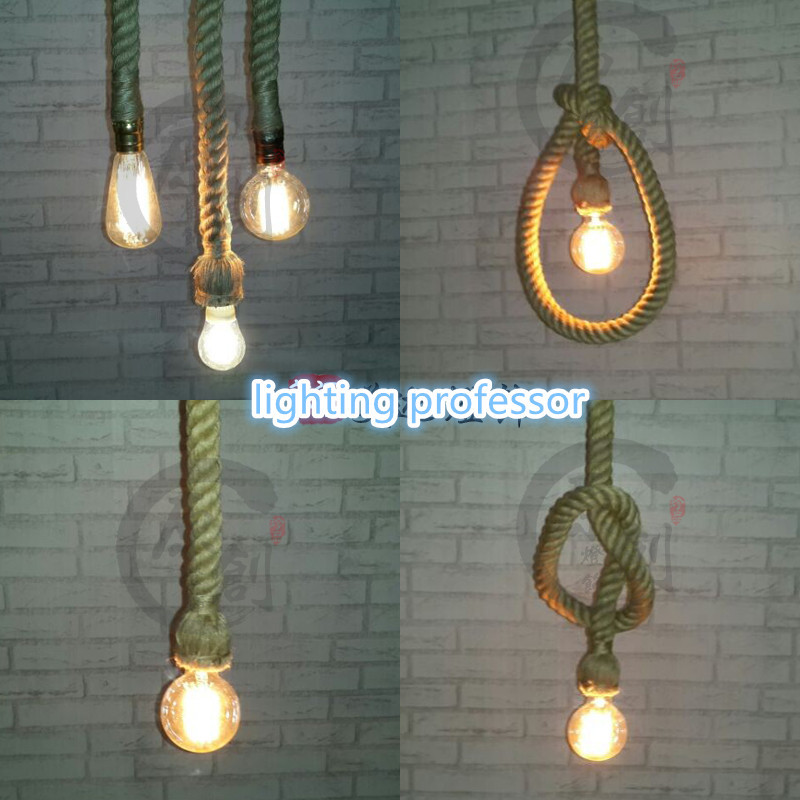 Single bulb 2 bulb creative personality rope pendant lights vintage rope pendant light lamp loft creative personality industrial lamp edison bulb american style for living aloadofball Image collections