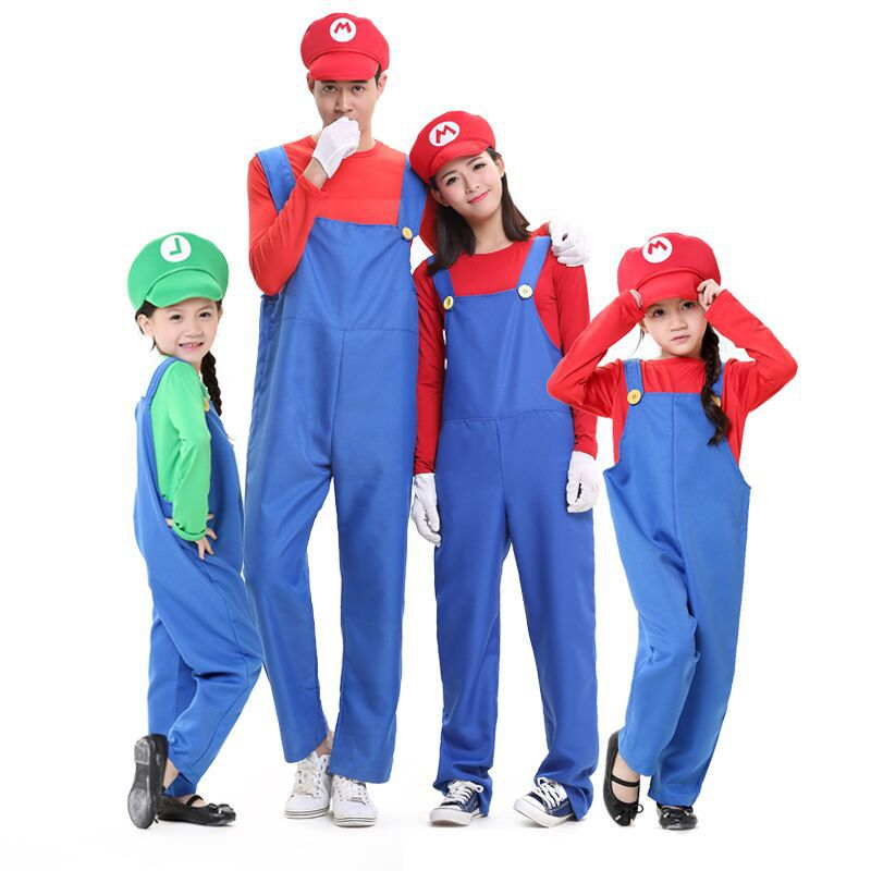 Super Mario Luigi Bros Fancy Dress Cosplay Plumber Costume Outfit For Adult Kids