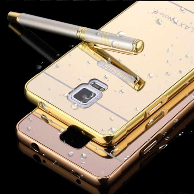Для samsung Galaxy Note 4 5 3 Чехол Coque Роскошная алюминиевая рама Пластиковая Задняя крышка для samsung S6 S4 Чехлы Etui Shell