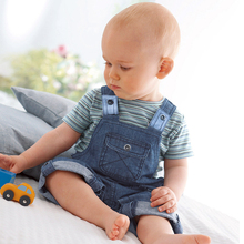 2pcs Denim Baby Clothing Set New Born Kids Overalls Boys Short Sleeve Striped Tops and Suspender Trousers Pant