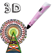 3D Pen Printing LED Screen Printing 3D Pen 100m PAL Canetas Criativa Birthday Gift Magic 3 D Pen for kids Drawing With Plastic все цены