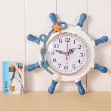 Creative wooden ship rudder alarm clock home decorative hanging clocks mediterranean style wall clock boat