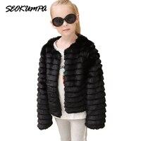 2017 Winter Baby Girls Faux Fur Coat European Style Party Pageant Warm Jacket Suit 2 10Y