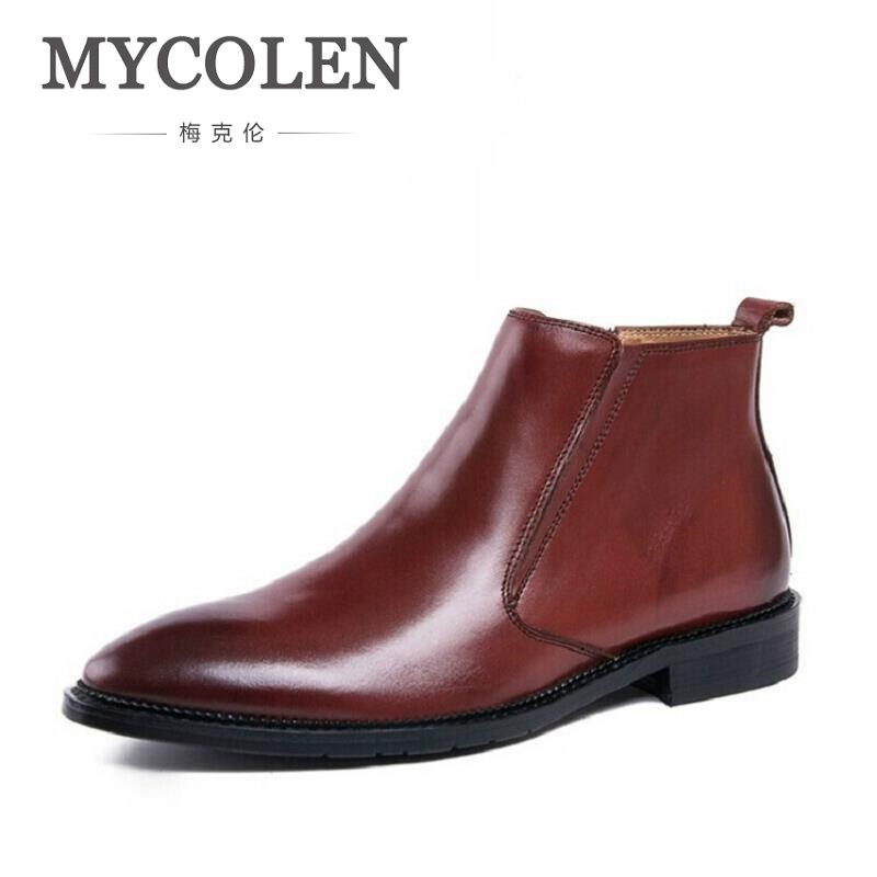 MYCOLEN New Fashion Men Leather Shoes Comfortable Black Winter Men Boots Quality Business Ankle Boots Sapato Masculino