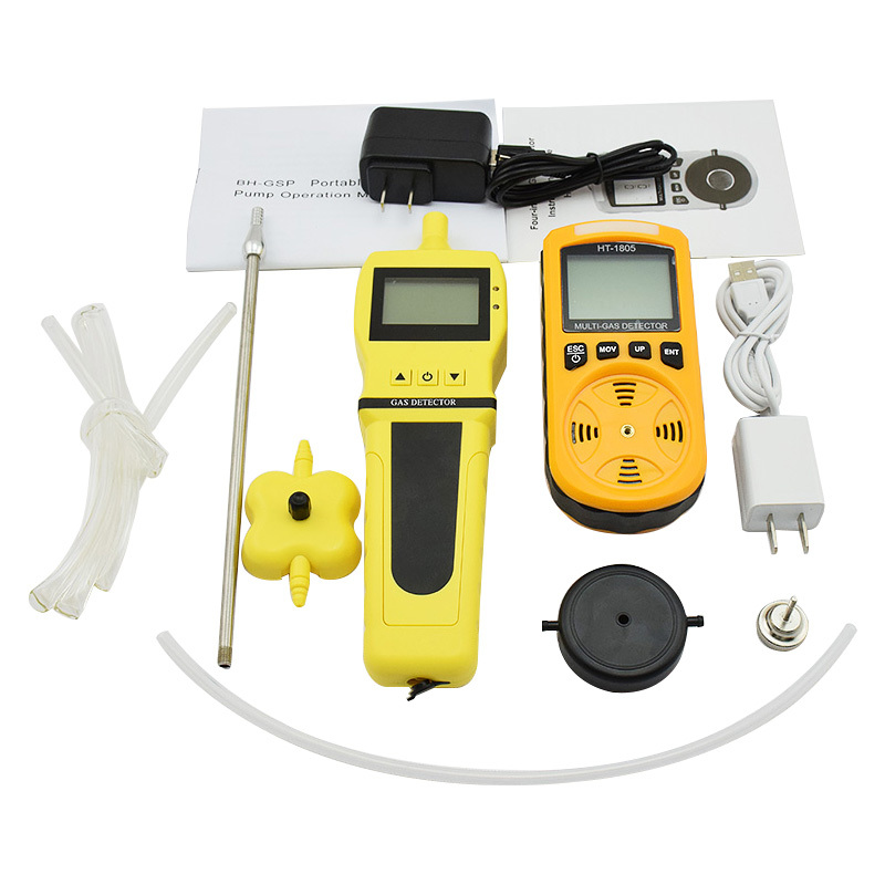 4 in 1 Multi Gas Detector O2 H2S CO Combustible With Gas Sampler Pump Oxygen Hydrogen Sulfide Carbon Monoxide Gas Analyzer