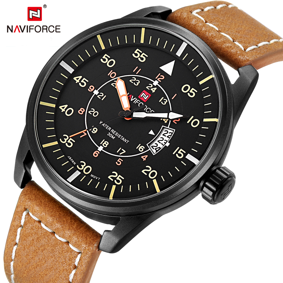 NAVIFORCE Luxury Top Brand Fashion Casual Leather Quartz Wristwatch Analog Sport Watch Men Military Clock Man Relogio Masculino top brand naviforce nylon band sport watch fashion casual mens military calender clock man quartz wrist watch relogio masculino