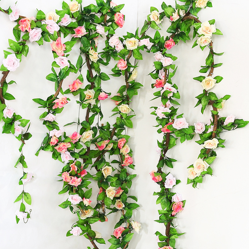 sale 2 4m lot silk rose flower strings artificial flowers for home wedding decor decorative. Black Bedroom Furniture Sets. Home Design Ideas