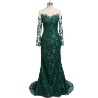 2018 Emerald Green Long Sleeves Lace Mermaid Evening Dresses Illusion Mesh Top Floor Length Party Prom