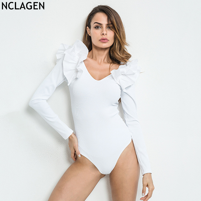 NCLAGEN 2018 Women Autumn Winter Bodysuit Sexy V Neck Club Slim Jumpsuit Bodycon Ruffles ...