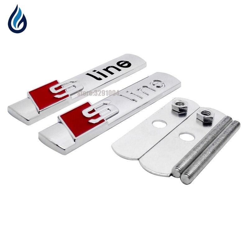 3D S линии Sline автомобиль Передняя решетка эмблема значок наклейки аксессуары для Audi A3 A4L A4 A5 A6L A7 A8L q3 Q5 Q7 TT S3 S5 S7 a4 b6 ...