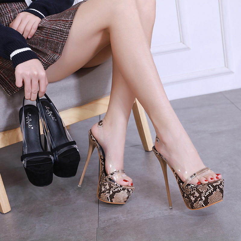 Woman PVC Clear Sandals Back strap 16CM <font><b>heels</b></font> Slides snake Print peep toe Shoes <font><b>platform</b></font> <font><b>high</b></font> <font><b>heel</b></font> shoes luxury zapatos mujer image
