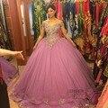 Lindo Rosa Frisado Ruffled Vestidos Quinceanera 2017 vestido de Baile de Organza Doce 16 Vestido de Festa Vestido Vestidos 15 anos 99