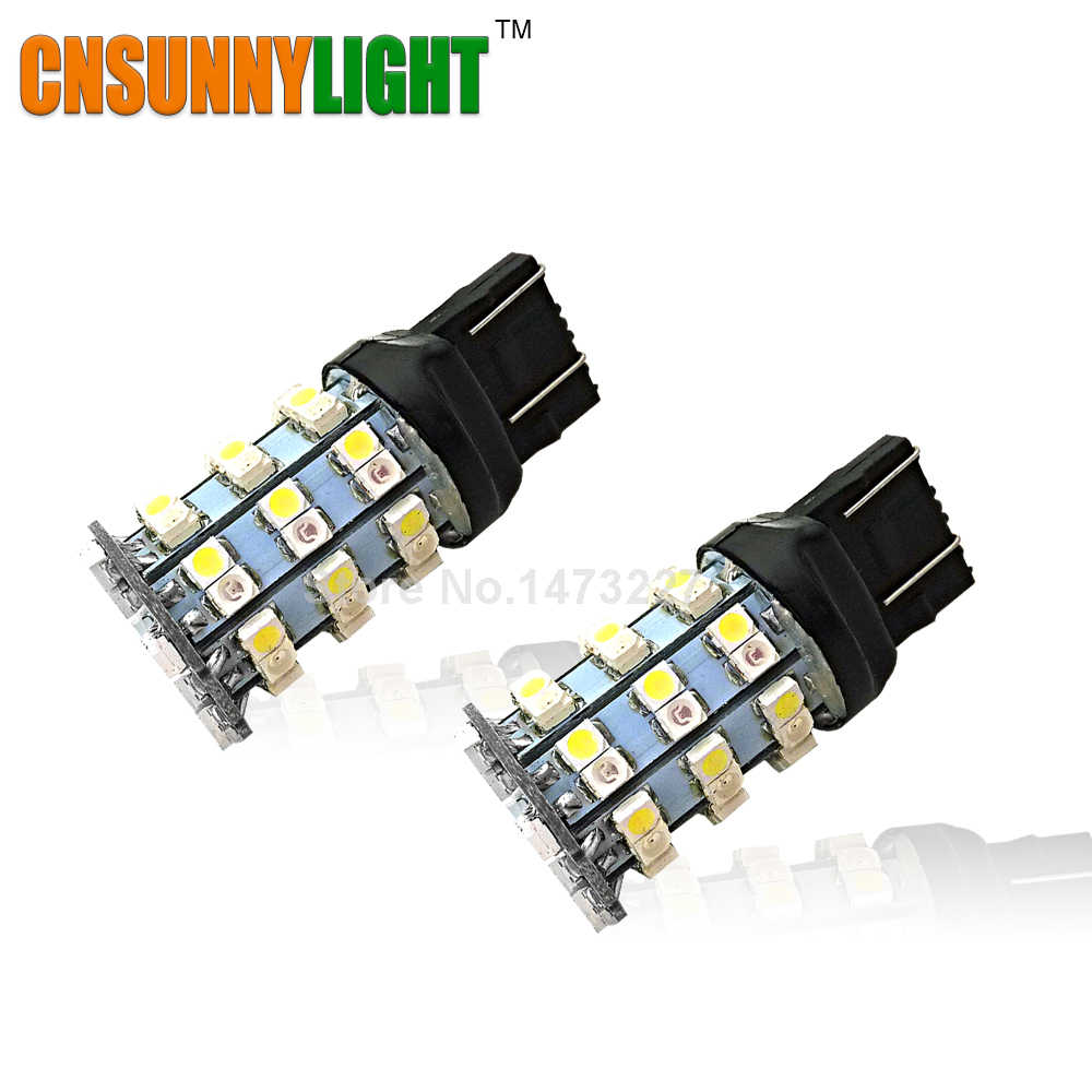 CNSUNNYLIGHT T20 7443 W21/5W LED Brake Fog Driving Parking Bulbs Dual color white/Amber Switchback 60SMD Car Signal Tail Light