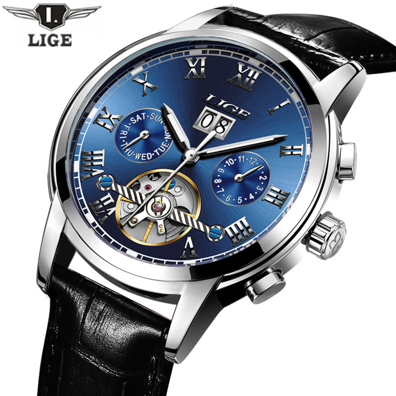Relojes Hombre LIGE Luxury Brand Mens Automatic mechanical Watches Men Casual fashion business Clock Watch men Relogio Masculino doobo men watch fashion mens watches top brand luxury leather business watch men clock saat relojes hombre 2017 relogio montre