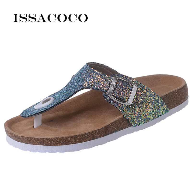ISSACOCO Summer Women Beach Cork Slippers Casual Sandals Sequins Slides Double Buckle Clogs Women Slip on Flip Flops Flats Shoes стоимость