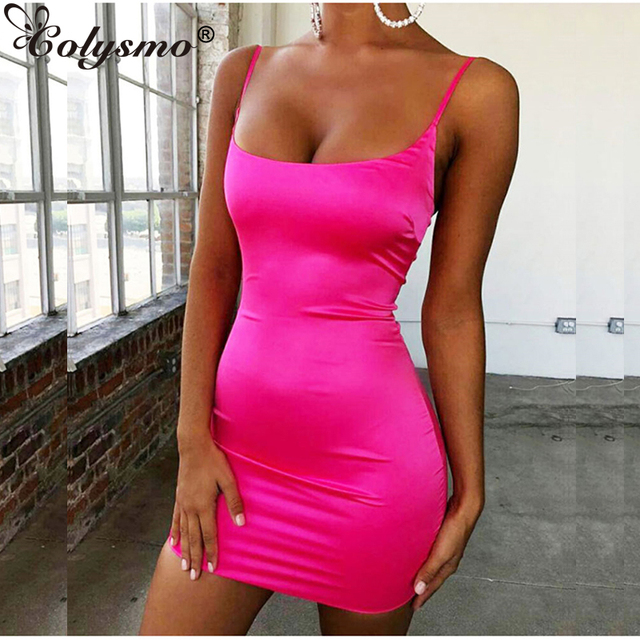 4df1f12770409 Colysmo Stretch Mini Satin Dress Women Sexy Straps Slim Fit Bodycon Party  Dress Neon Green Pink Dress Summer Dreses Dual-layered