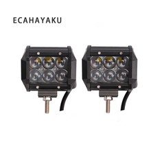 ECAHAYAKU 2 pcs 12V 24V 30W Led work Light Bar 4D Projector Lens 4 inch Dual Row 6000K Waterproof for Trailer Tractor ATV SUV