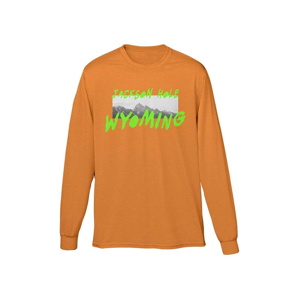 2018 neueste TOP Kanye West Saison 5 Wyoming berge Muster brief druck Männer langarm t shirt hip hop Casual baumwolle T