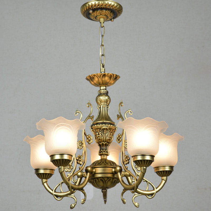 European Bronze Metal Living Room Chandelier Dining Room Restaurant Glass Chandelier Lights Corridor Hallway Balcony Chandelier