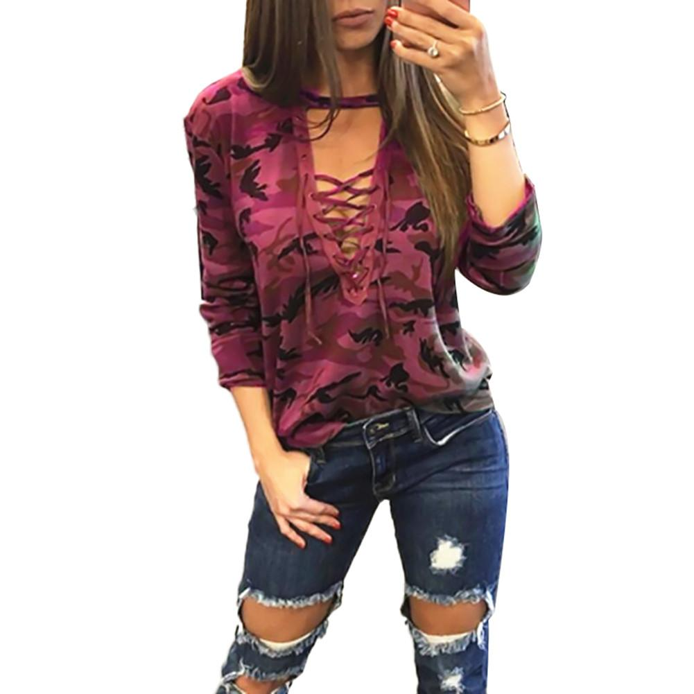 Camouflage Low-cut Hollow Out Straps Long Sleeve Sexy T-shirt Tops for Women Plus Size 3XL 4XL 5XL