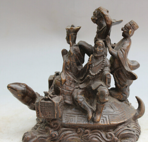 """JP S0524 6"""" Old Chinese Bronze Myth Journey West Xi You Ji Ride tortoise Turtle Statue"""