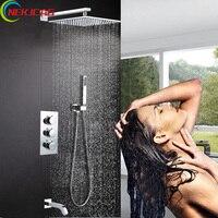 Chrome Ванная комната Термостатический смеситель для душа кран Набор Три ручки настенное крепление душевой комплект