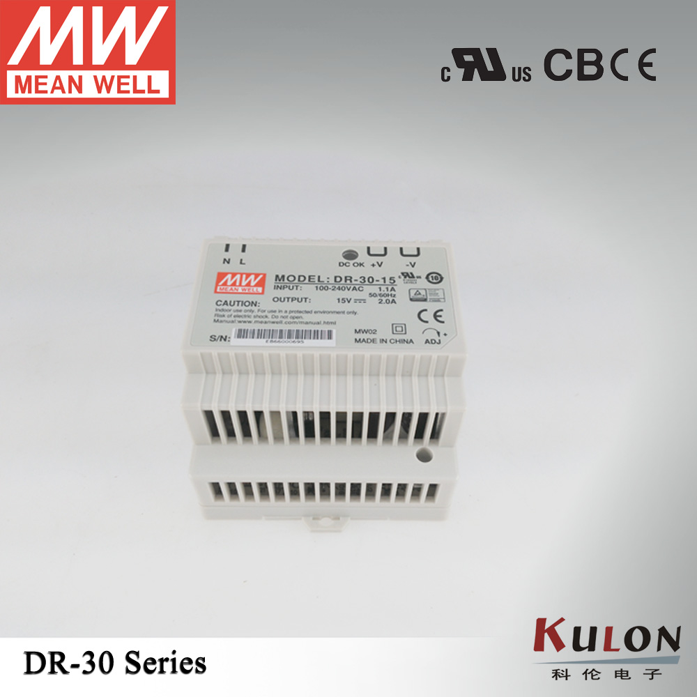 Single Output 30W 15V 2A Genuine Meanwell DR-30-15 Industrial DIN Rail Power Supply [sumger2] mean well original dr 100 15 15v 6 5a meanwell dr 100 15v 97 5w single output industrial din rail power supply