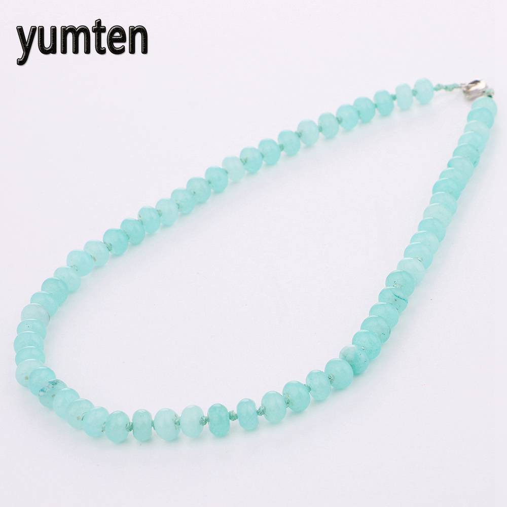 Yumten Aquamarine Power Necklace Round Sea Natural Stone Women Man Gem Jewelry Gift Crystals Collares Colar Colar Wholesale 5PCS