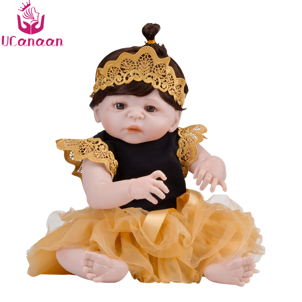 UCanaan 22'' Full Vinyl Silicone Dolls Reborn Baby Alive Toys For Children New Born Realistic Kawaii Princess Girls Doll Bonecas kawaii baby dolls