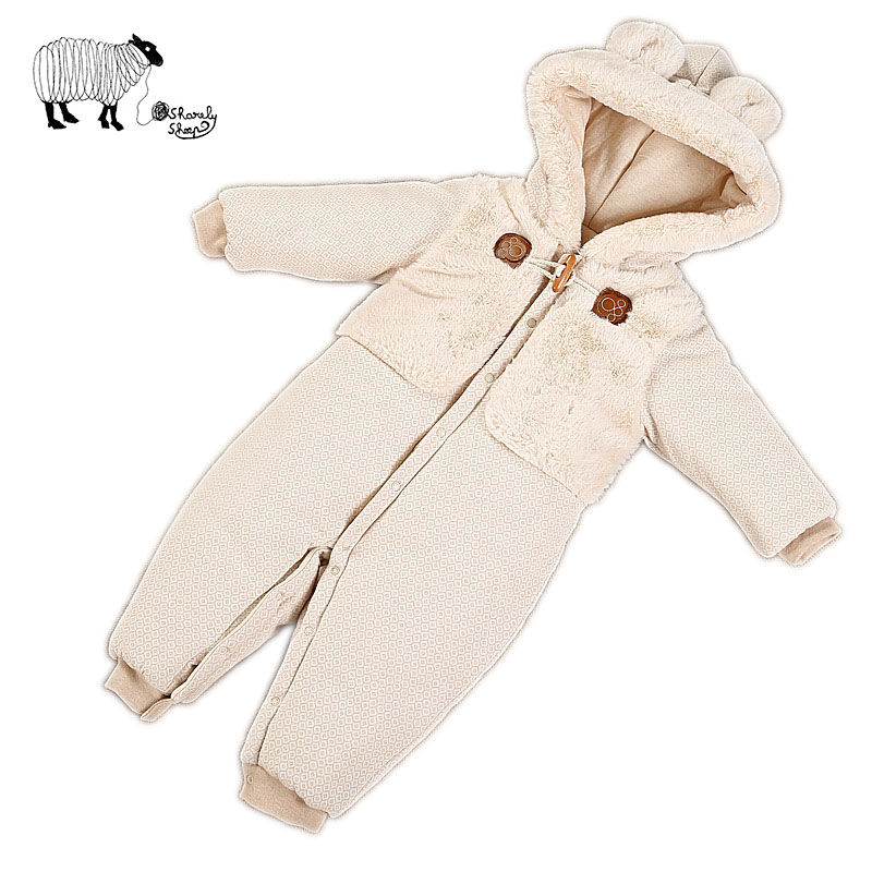 ФОТО Newborn Baby Girls Boy Organic Cotton Hooded Rompers Spring Costume Infant Baby Cute Cartoon Snowsuit Jumpsuit Overall Clothes