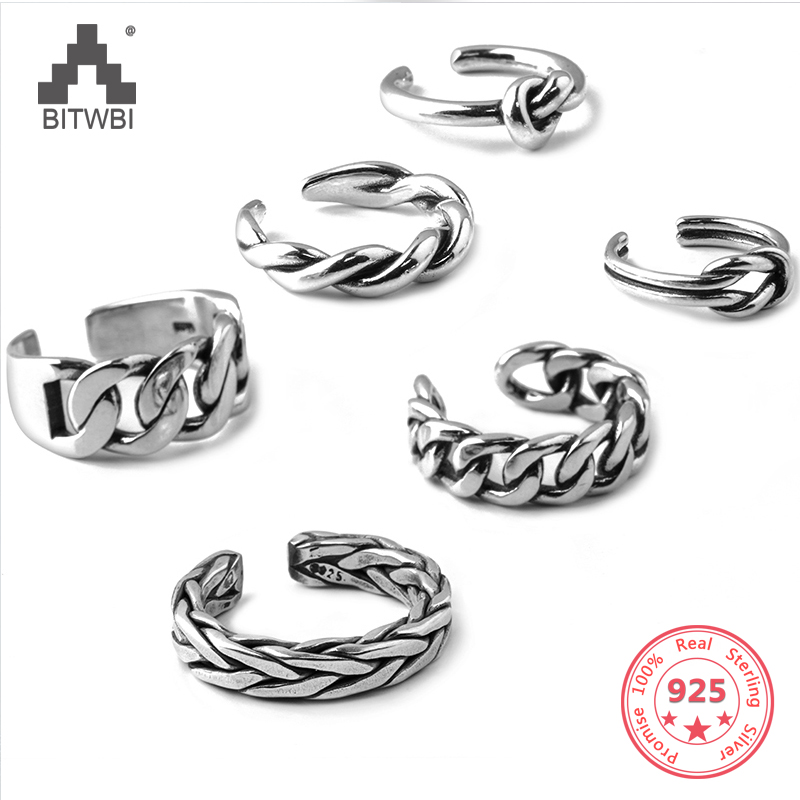 100% S925 Sterling Silver Vintage Old Thai Silver Twist Wide-faced Chain Carved Open Ring100% S925 Sterling Silver Vintage Old Thai Silver Twist Wide-faced Chain Carved Open Ring