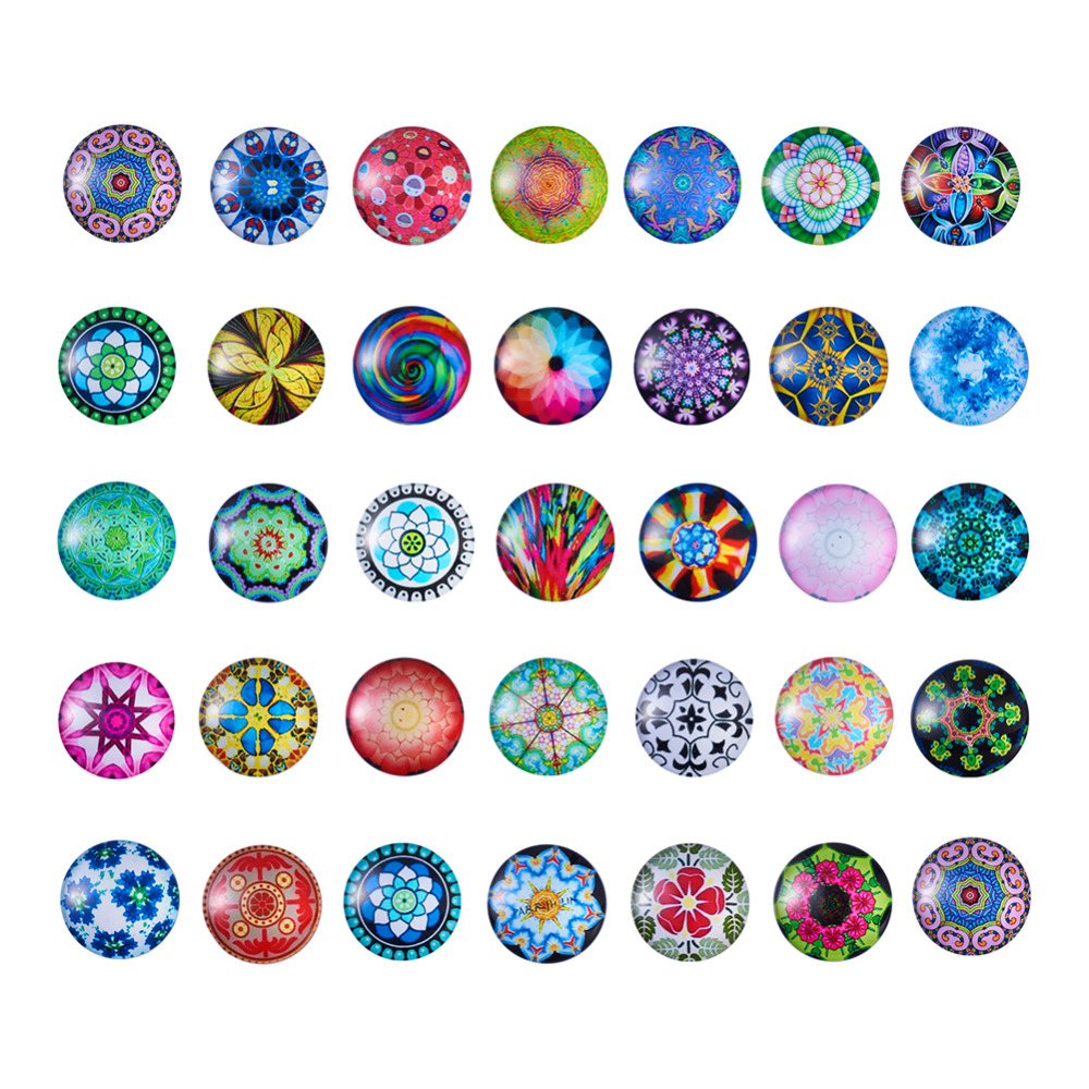 Image 2 - 200pc Mixed Color Mosaic Printed Glass Half Round/Dome Cabochons Jewelry Findings for DIY 10mm 12mm 14mm 16mm 18mm 20mm 25mm-in Jewelry Findings & Components from Jewelry & Accessories