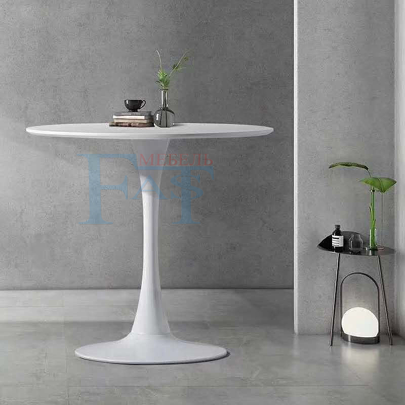 Home Dining Table White Paint  Table  On Metal Base Kitchen Table Round Table Modern Table