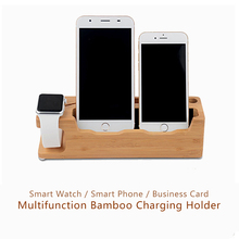Newest 4 in 1 Bamboo Smart Phone Holder Stander Charging Charger Dock Base Phones For Apple i Watch For Iphone 6 6S Plus 7 7P