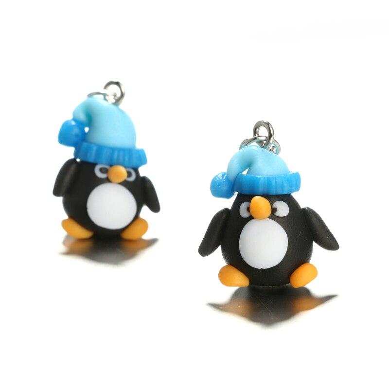 Tocona Cute 3D Cartoon Penguin Stud Earrings Handmade Polyme