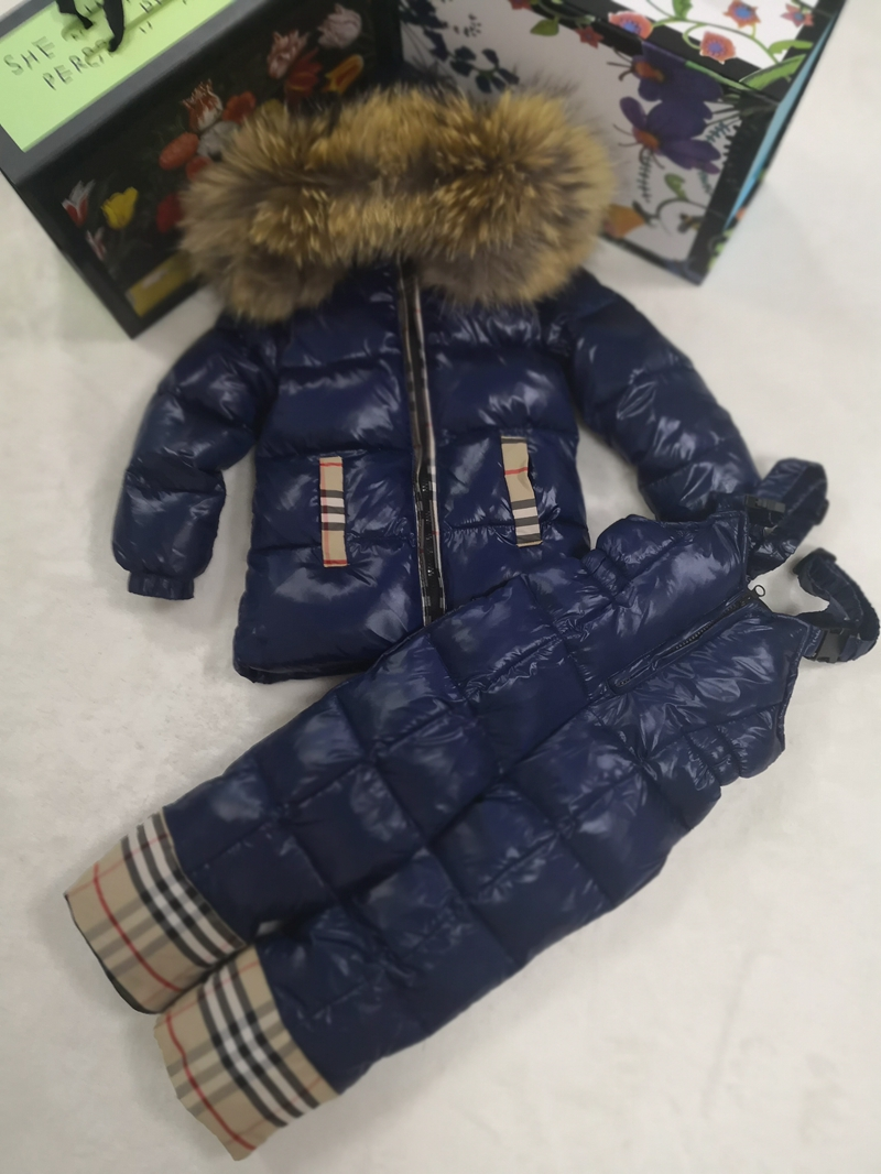 80cm 140cm 2018 Winter Jacket Children down jackets & PANT duck down Fur hooded girl snowsuit boy Suit set outerwear ski suit