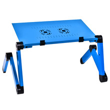 Computer Desk Portable Adjustable Foldable Laptop PC Folding Table Stand Bed Sofa Tray with 2 Cooler Fans Notebook Lap Desk(China)