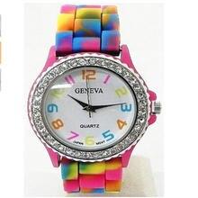 2017 новые часы geneva rainbow crystal rhinestone силиконовый
