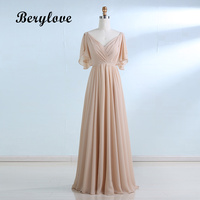 BeryLove Simple V Neck Floor Length Evening Dresses Short Sleeves Formal Party Dresses Ruched Long Cheap Women Prom Dresses 2018